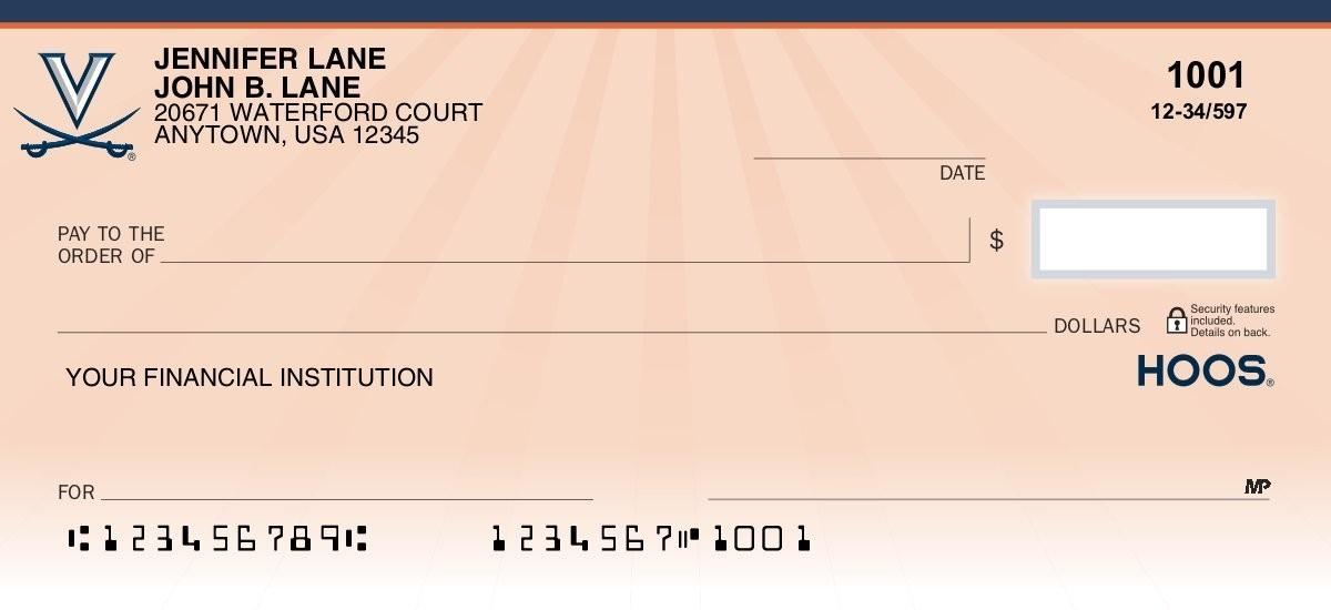 virginia cavaliers personal checks