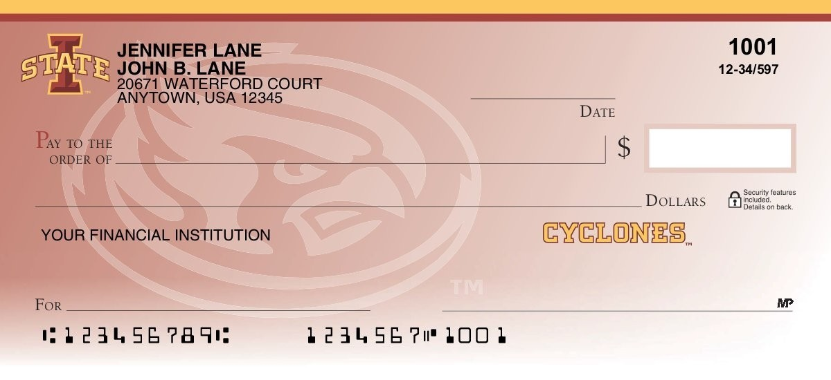 iowa state cardinals personal checks