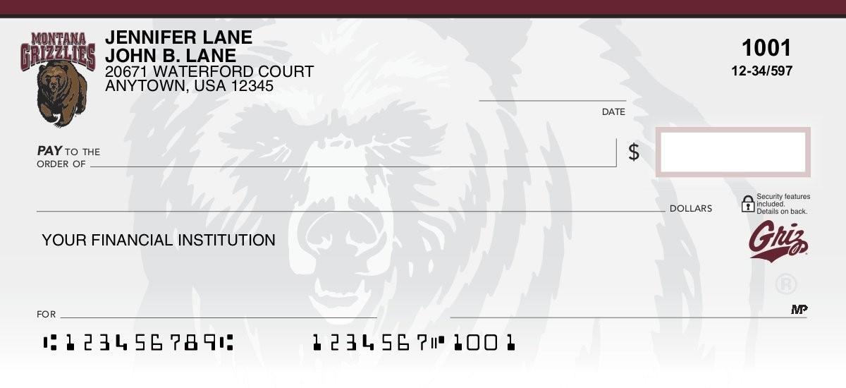 montana grizzlies personal checks
