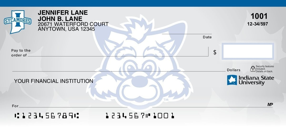 indiana state sycamores personal checks
