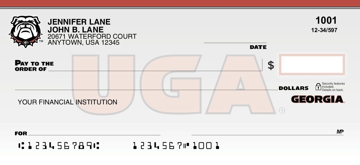 uga bulldogs personal checks