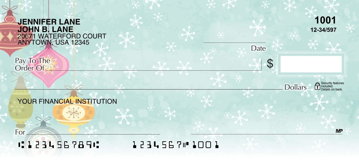 Hanging classic Christmas ornaments personal checks